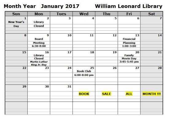 Calendar - January 2017